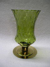Homco Green Large Diamond Optic Glass Peg Votive Cup Candle Holder - $7.99