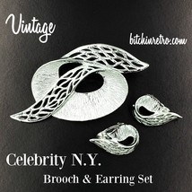 Celebrity NY Brooch and Earrings Set  Vintage Abstract Mid Century Moder... - $18.00