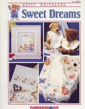 Sweet Dreams Bears Baby Birth Record Cross Stitch Patterns Leaflet - $1.32