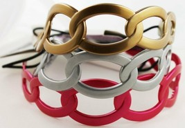 Goody Interlocking Rings Gelly Plastic Headwrap Jelly Head Band Gold Pink Silver - $10.00
