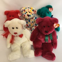 5 Ty Beanie Buddy Teddy Bear Lot Osito Cranberry Teal Valentino 2K Tags ... - $23.70