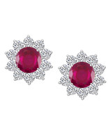 1.50 CT Round Red Ruby & White CZ Halo Stud Earrings 14K White Gold Over - $54.44