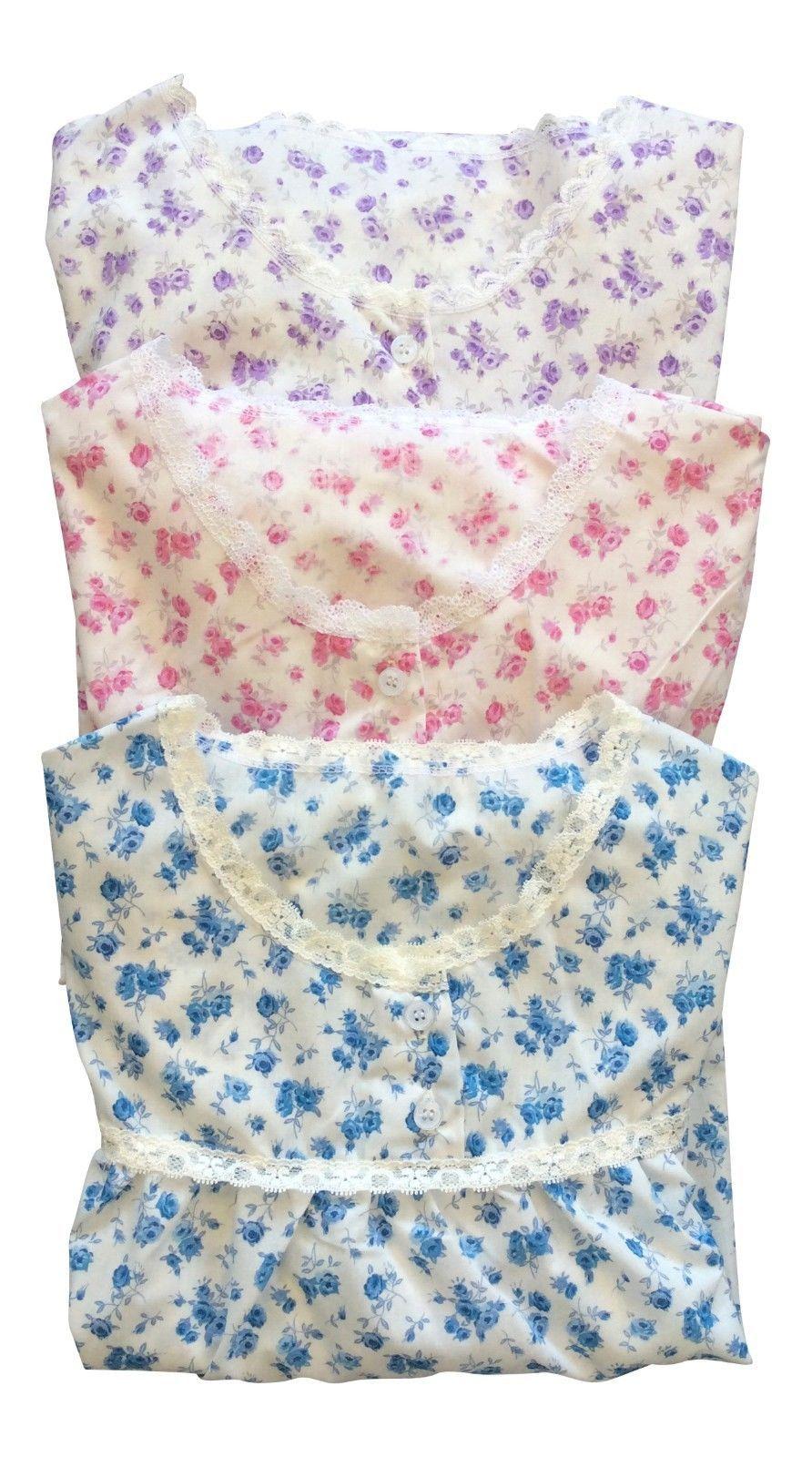 Womens Long Vintage Floral Cute Nightdress Gown Nightie, in Pink, Purple or Blue - $17.99