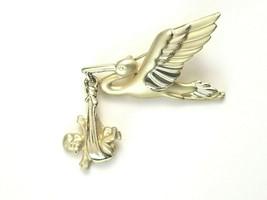 Vintage Signed AJC Gold Tone Stork Dangle Baby In Blanket Brooch Pin  - $18.76