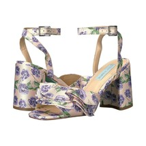 Betsey Johnson Flirt Lilac Satin Ruffle Ankle Strap Chunky Block Heels 7... - $73.76