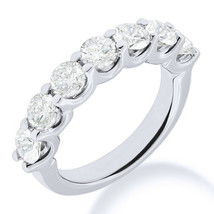 Round Moissanite 7-Stone U-Prong Anniversary Ring Wedding Band in 14k Wh... - €335,95 EUR+