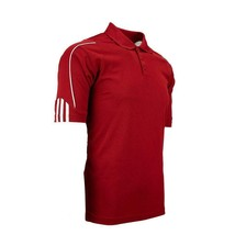 adidas Men's XL ClimaLite Golf 3-Stripes Cuff Polo Power Red/White - $31.67