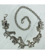 Silver Tone Safari Animal Giraffe Lion Hippo Belly Body Chain Belt One S... - $38.69