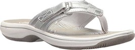Clarks Breeze Sea Flip Flop (Women's) $55 in Silver Synthetic - NEW - sa... - $52.20