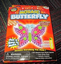 NEW COLOR ZONE ADHESIVE FOAM MOSAIC BUTTERFLY CRAFT KIT, MESS-FREE, FUN ... - $6.99