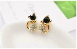 14K Yellow Gold Over 1 Ct Black Round Diamond Animal Cats Love Ear Stud ... - $71.27