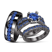 Blue Sapphire Black Gold Plated 925 Silver Bride & Groom Trio Wedding Ring Set - $165.98
