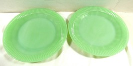 2 Oven Ware Fire King Jadeite Jane Ray salad plates green ribbed dinnerw... - $69.30