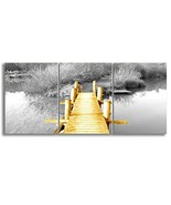 KALAWA Modern Decor Yellow and Grey Nature Scenery Country Grey Fall For... - $80.02