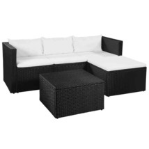 vidaXL 3 Piece Garden Lounge Set Poly Rattan Black and White Patio Furni... - $252.99