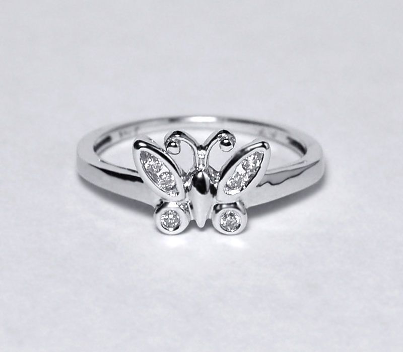 Natural Diamond Butterfly Band Ring Womens 10K White Gold Custom Made