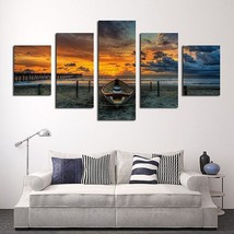 5 Piece HD Seascape Boat Painting Oil Print On Canvas Wall Home Decor No Frame - $25.47