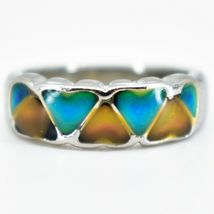 Heart Shape Multi-Color Changing Contrasting Silver Painted Mood Ring image 4