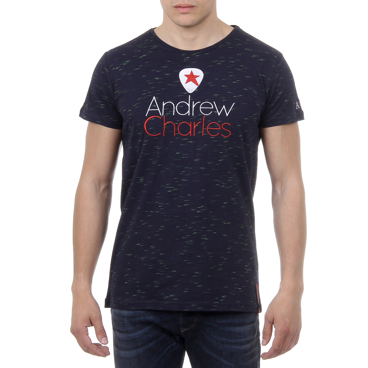Primary image for Andrew Charles Mens T-Shirt Short Sleeves Round Neck Dark Blue JACK