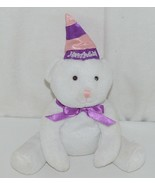 Solid White Plush Bear With Purple Bow Purple Pink Happy Birthday Hat - $9.99