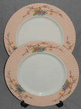 Set (2) Lenox ROMANCE PATTERN Enameled Flowers DINNER PLATES Made in USA - $71.27