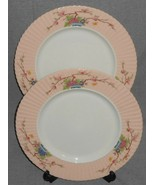 Set (2) Lenox ROMANCE PATTERN Enameled Flowers DINNER PLATES Made in USA - $71.27