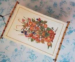 Floral/Fruit TAPESTRY 1950s Danish Hand Embroidered with Bamboo hangers - $41.00