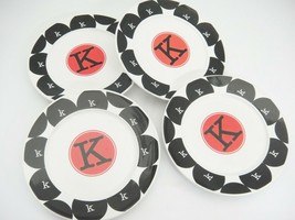 Monogram City Dots Lot of 4 Appetizer Dessert Plates Initial K Black Red - $14.84