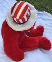 "SAM THE RED BEAR BEANIE BUDDY 2004 MWMT 14"" Patriotic Stars & Stripes Hat image 4"