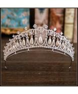 Royal Bridal Princess Di White Gold Plated Pave CZ Pearl Tear Drop Jewel... - $117.95