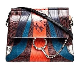 CHLOE Black Multicolor Snakeskin Medium Faye Shoulder Bag - $1,975.05