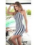 Espiral Navy Blue & White Nautical Striped Mini Sun Dress 4970 - $34.99
