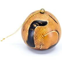 Handcrafted Carved Gourd Art Laying Cat Kitten Kitty Ornament Made in Peru image 3