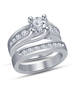 14k white gold plated solid 925 sterling silver vintage bridal rings set... - $89.99