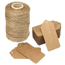 300 Feet Natural Jute Twine and 100PCS Brown Retangle Kraft Paper Gift Tags for