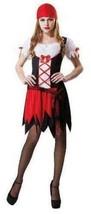 Womens Pretty Pirate Black Red Dress & Bandana 2 Pc Halloween Costume-size OS - $19.80