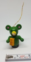 vintage christmas ornament wooden green teddy bear wood with gift pre-owned - $7.49