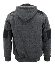 Men's Two Tone Warm Soft Sherpa Lined Moto Quilted Zipper Fleece Hoodie Jacket image 6