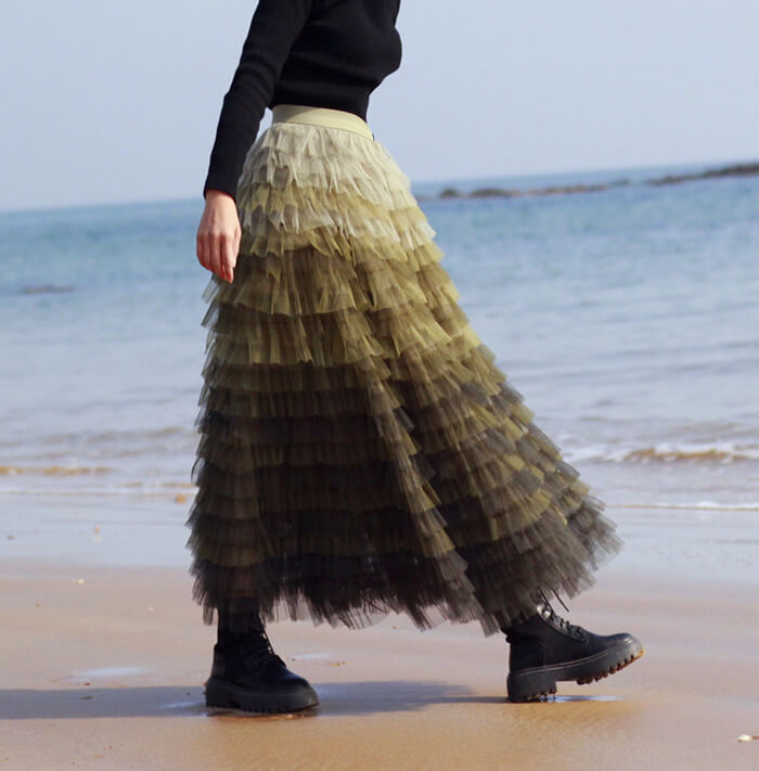 Women Army Green Tiered Tulle Skirt High Waist Tulle Party Tulle Skirt Plus Size