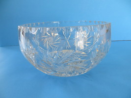 7.5 inches Crystal Cut Bowl with Etched Pinwheel & Hobstar Pattern - $11.29