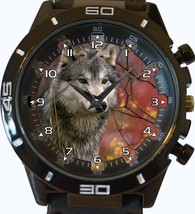 Gray Wolf Looking For Prey Trendy Sports Style Unisex Gift Watch - $34.99
