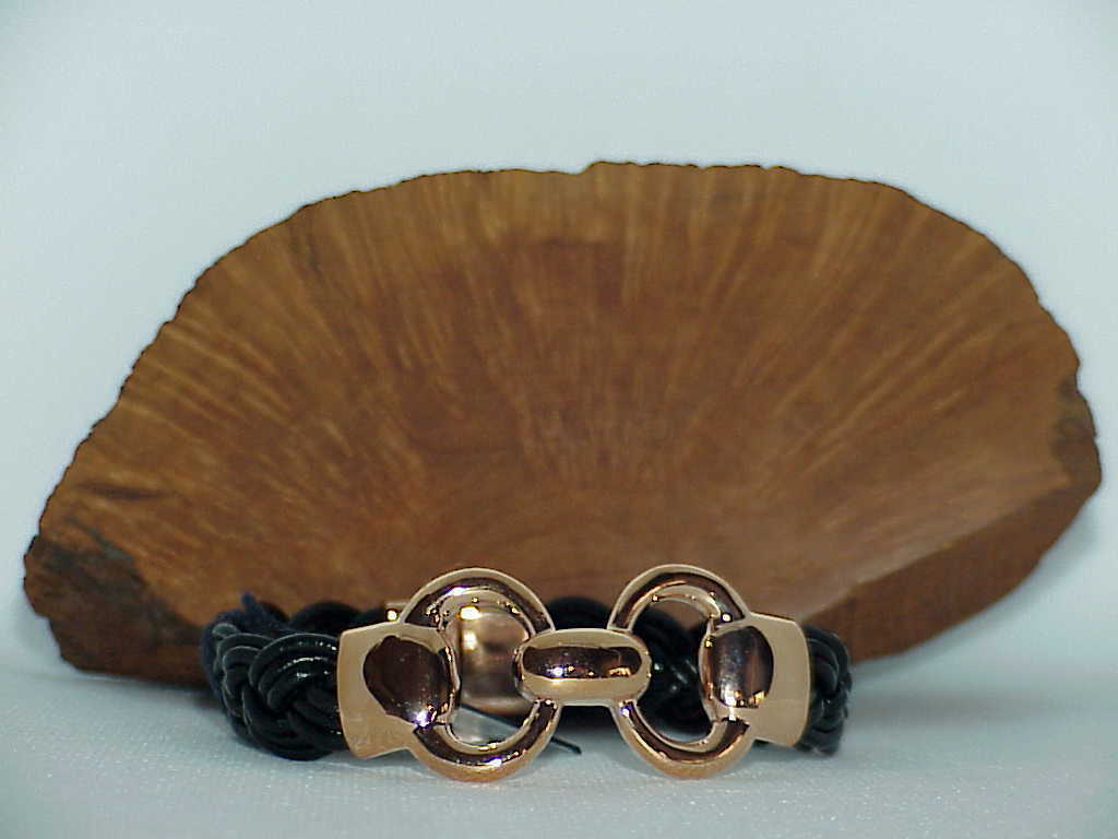 "Bronzo Italia Rose Gold Status Black Braided link Leather Bracelet  8"" QVC NewBX"