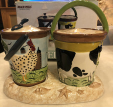 """Sugar And Creamer Set Rooster And Cow """"beach Pails"""" Oneida - $10.88"""