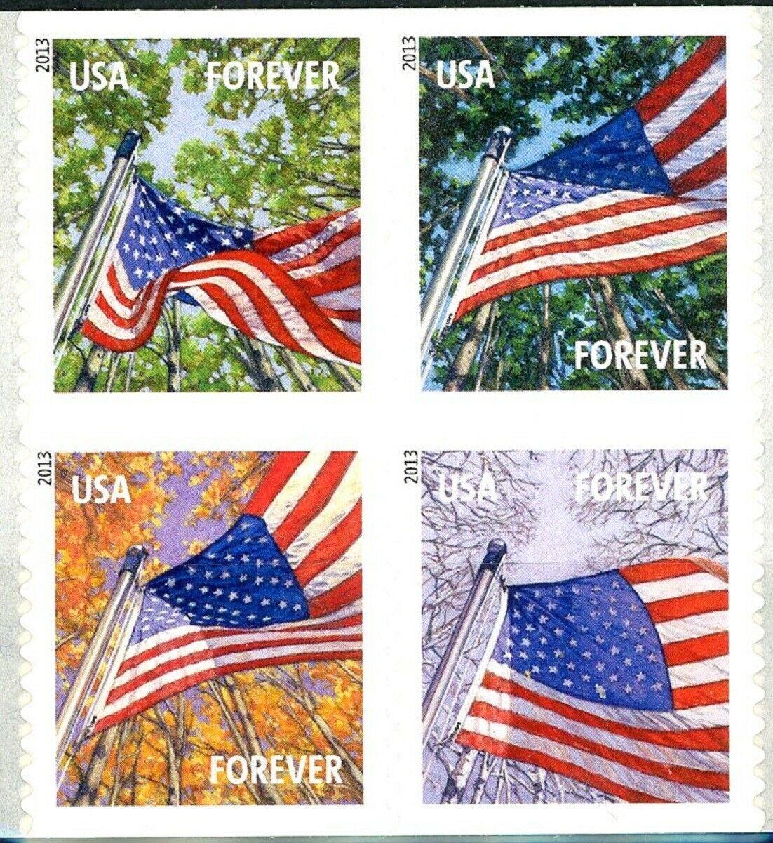 Flag for All Seasons 4 Booklet Stamps MNH Scott 4778 4779 4780 4781 USPS Backing