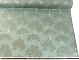 Slub Effect Duck Egg Blue Silver Embroidered Trees Fabric Material *2 Si... - $8.34+