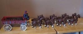 Vintage Cast Iron Budweiser Clydesdale Horse Team & Beer Barrel Wagon w/... - $86.96