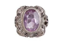 VINTAGE Italian Silver COCKTAIL RING w/ Oval Faceted AMETHYST Gemstone - $242.55