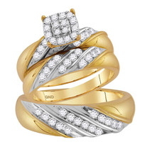 14kt Two-tone Gold His & Her Diamond Cluster Matching Bridal Wedding Ring Set - $1,499.00