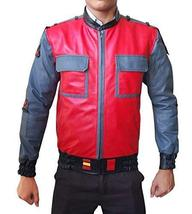 Marty McFly Back To The Future 2 Michael J Fox Red Bomber Faux Leather Jacket image 1