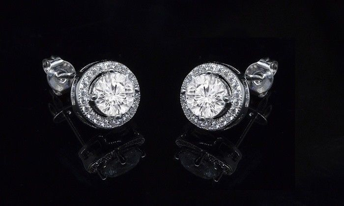 Fashion 925 Sterling Silver Pricess Cut Cubic Zirconia Stud Earrings 6mm